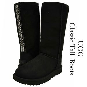 🎉UGG Classic Tall Ultimate Braid Black Boots